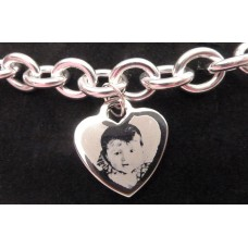 Photo Engraved Silver Charm Bracelet
