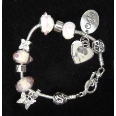 Pink Ogle Charm Bracelet with Silver Photo Engraved Charm