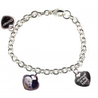 Triple Photo Engraved 925 Silver Charm Bracelet