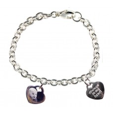 Double Photo Engraved 925 Silver Charm Bracelet