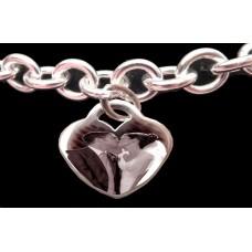 Silver Charm Bracelet Engraved Wedding Photo