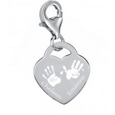 Sterling Silver Hand Print Footprint Clip Charm