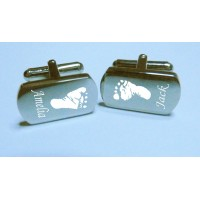 Engraved Footprint Hand Print Cufflinks