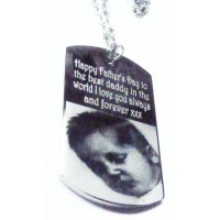 Loss Engraved Photo Keepsake Mens ID Tag