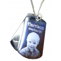 Engraved Photo Double ID Tags on Chain