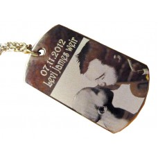 Engraved Photo ID Tag on Chain