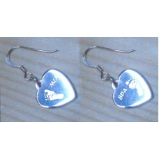 Engraved Footprint Hand Print Silver Heart Earrings
