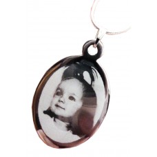 Engraved Photo Necklace Oval Charm