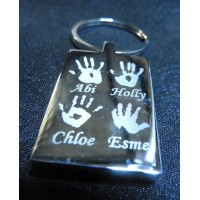 Four Children Hand Print Footprint Key Ring