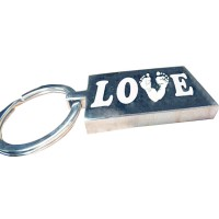 LOVE Engraved Print Key Ring