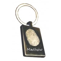 Engraved Rectangle Fingerprint Key Ring