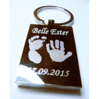 One Child Engraved Hand Print Footprint Key Ring