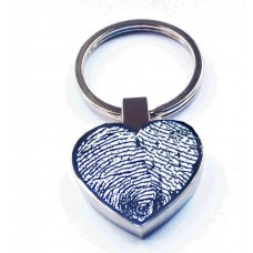 Engraved Fingerprint Key Ring Heart