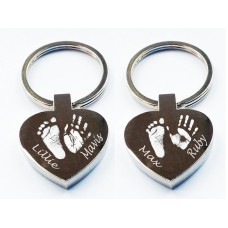Four Prints Hand Print Footprint Key Ring Heart
