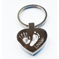 Engraved Hand Print Footprint Key Ring Heart