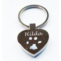 Pet Paw print Engraved Heart Key Ring