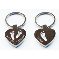 Three Hand Print Footprint Key Ring Heart