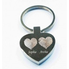 Engraved Fingerprint Hearts Key Ring