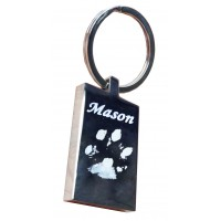 Pet Paw print Engraved Key Ring