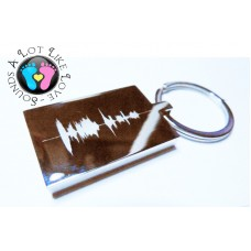 Sound wave Engraved Rectangle Key Ring