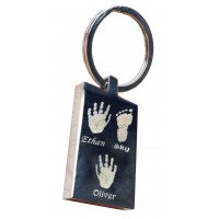 Three Children Hand Print Footprint Key Ring