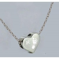 Engraved Silver Footprint Bead Necklace