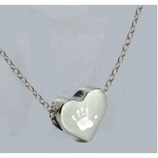 Engraved Silver Hand print Bead Necklace
