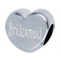 Sterling Silver Engraved Pandora Style Bridesmaid Bead