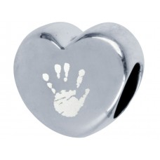 Silver Engraved Pandora Style Hand print Footprint Bead Charm