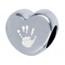 Silver Engraved Pandora Style Hand print Footprint Bead Charm