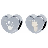 Double sided Pandora Style Hand print Footprint Bead
