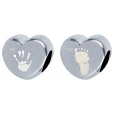 Double sided Pandora Style Hand print Footprint Bead