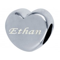 Sterling Silver Engraved Pandora Style Name Bead