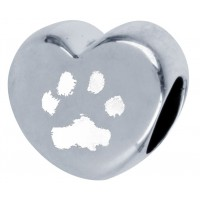 Sterling Silver Engraved Pandora Style Paw print Bead