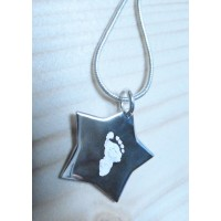 Engraved Hand Print Footprint Silver Star Necklace