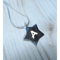 Engraved Initial Silver Star Necklace