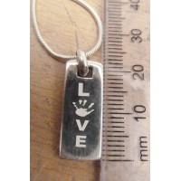 925 Silver Hand print Love Tag Necklace