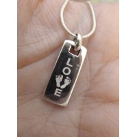 925 Silver Footprint Love Tag Necklace