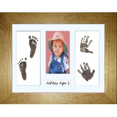 Ink less Wipe Flat Pine Framed Hand Foot Prints Kit