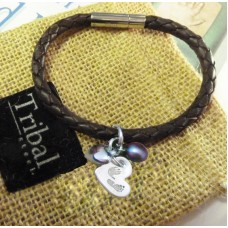 FINE SILVER Hand Foot Charm Brown Leather Bracelet
