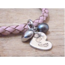 FINE SILVER Hand Foot Charm Pink Leather Bracelet