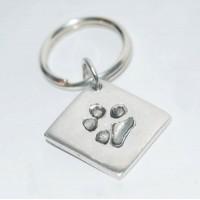 Fine Silver Paw print Key Ring
