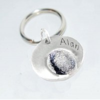 Fine Silver Fingerprint Key Ring