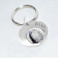 Fine Silver Fingerprint Key Ring
