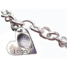 Fine Silver Fingerprint Charm Bracelet