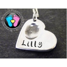 FINE SILVER Fingerprint Jewellery Charm on Silver Necklace