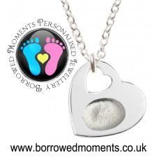 FINE SILVER Fingerprint Charm Heart Cut Out Necklace