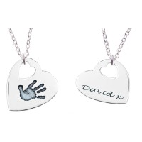 FINE SILVER Cut Out Heart Hand Print Necklace