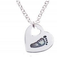 FINE SILVER Cut Out Heart Footprint Necklace