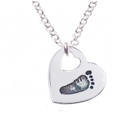 FINE SILVER Footprint Necklace Cut Out Heart